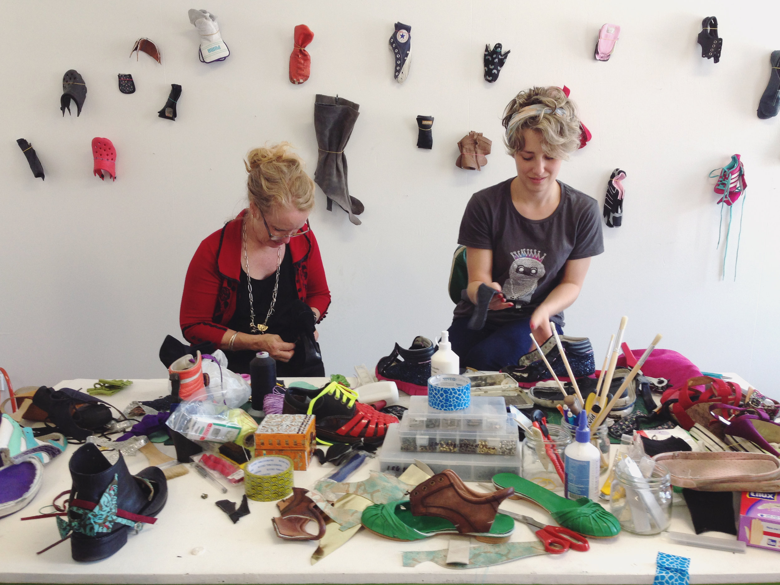 Frankenfoot   an Urban Dream Brokerage in Dunedin in 2017 which upcycles shoes into wearable art. Image: Justin Spiers.