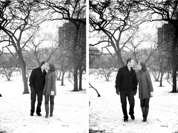 North Pond Winter Engagement Photography