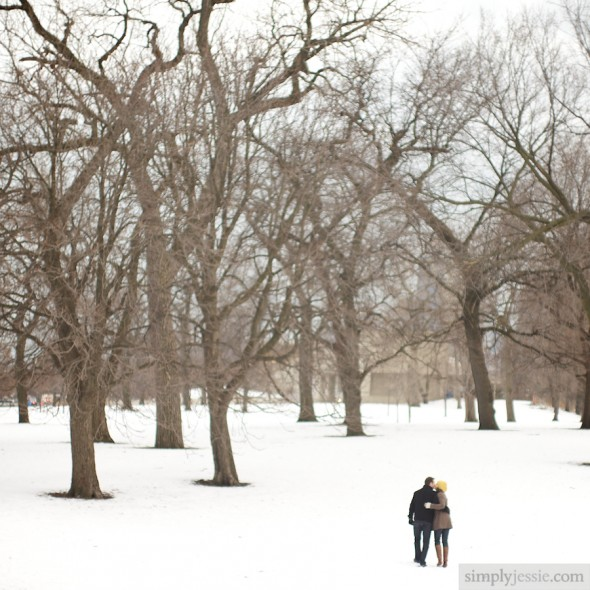 Snowy Chicago Engagement Photography