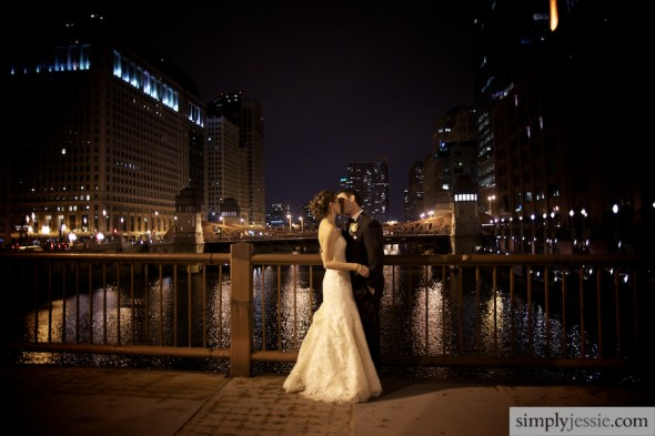 Downtown Chicago Night Wedding Photography