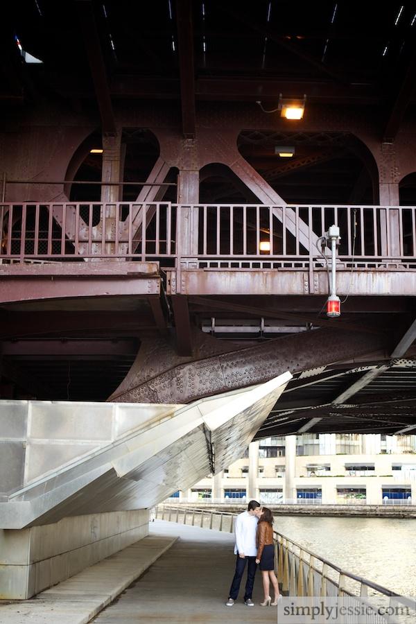Engagement Photography on Chicago bridges