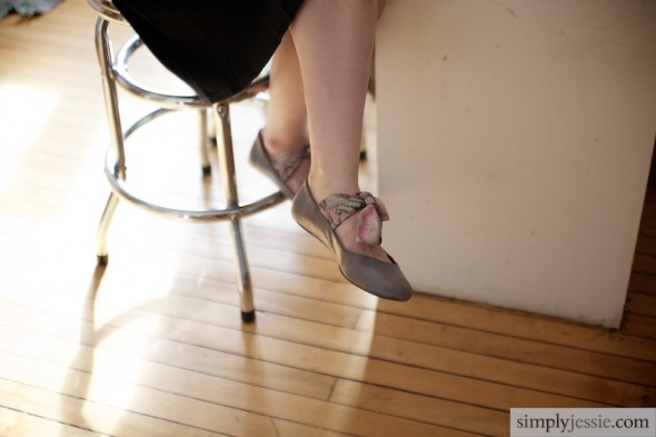 Shoes in engagement shoot