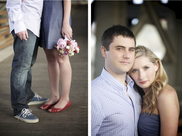 Red shoes engagement photography