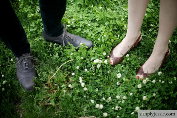 Engaged feet in clover
