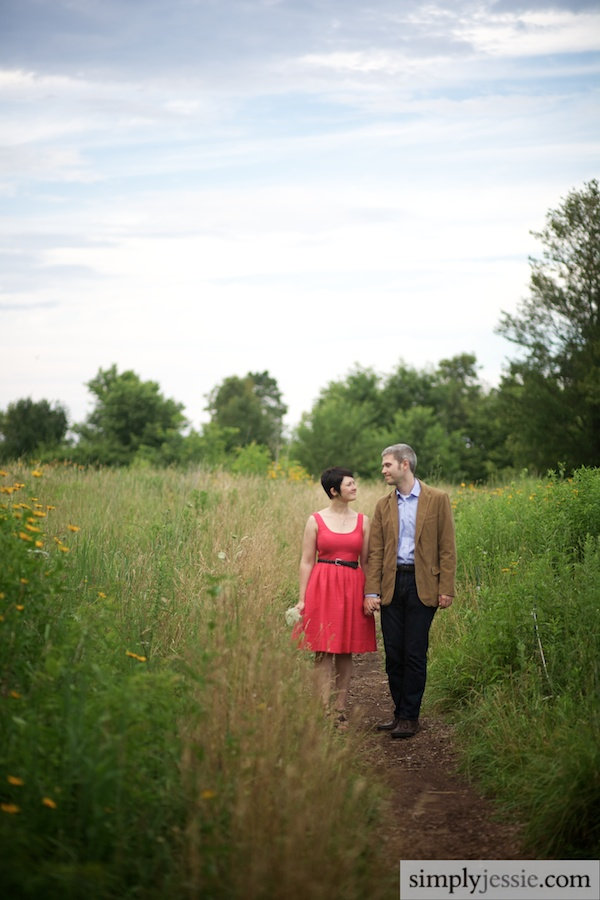 Midwestern Field Engagement Session, Wildflower Engagement