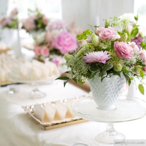 Vintage glass wedding flowers