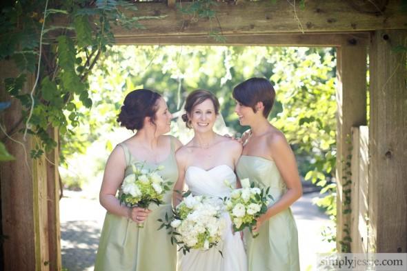 Bride & bridesmaids at Morton Arboretum