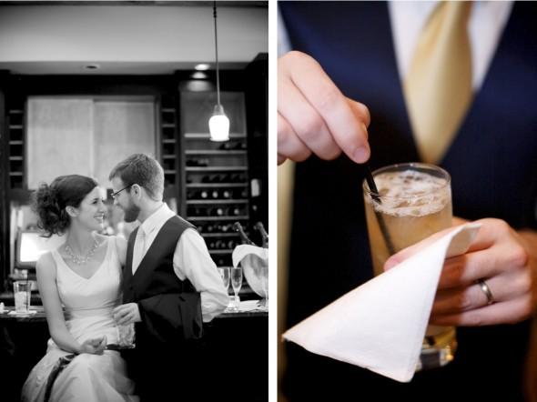 Bride & groom at bar
