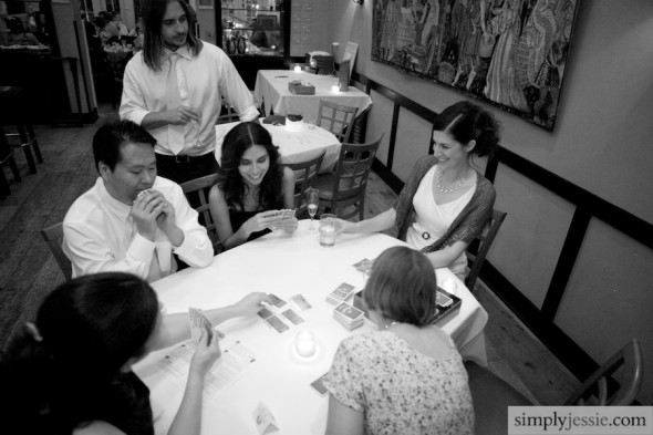Bride playing board games