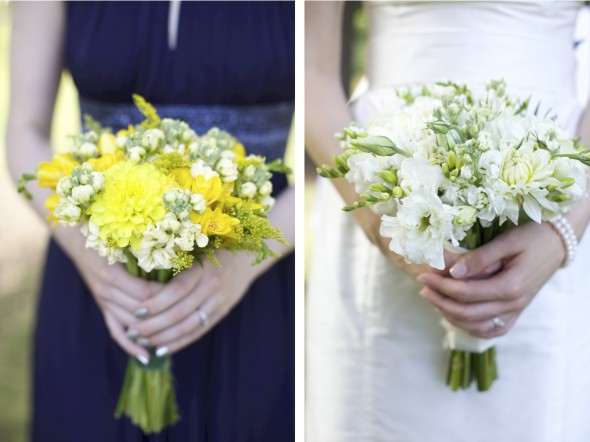 Navy bridesmaids dresses with yellow flowers