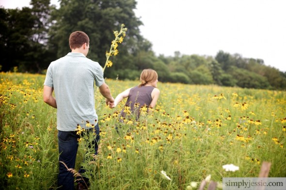 Yellow field of flowers engagement photography