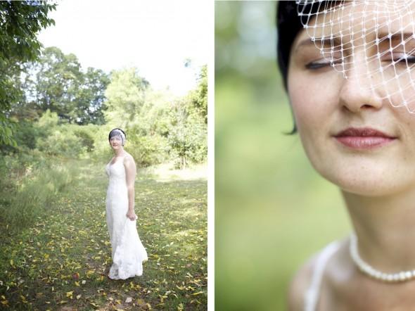 Vintage Bride with birdcage veil