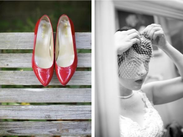 red bride shoes, birdcage veil