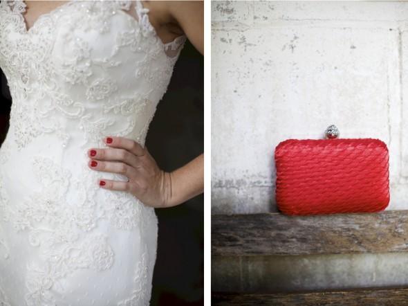 red nail polish on bride
