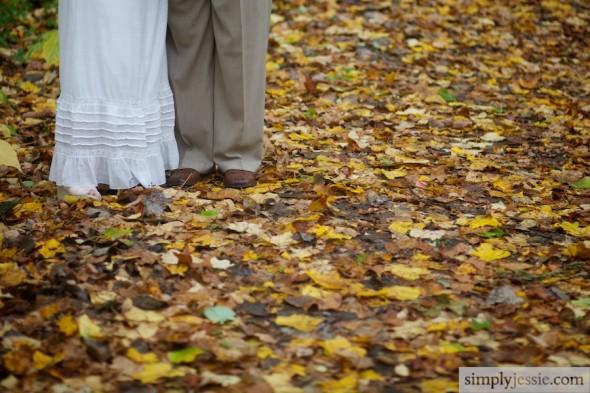 Fall Leaves Bride & Groom