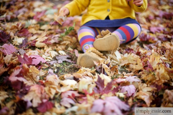 Baby Shoes in Fall LEaves
