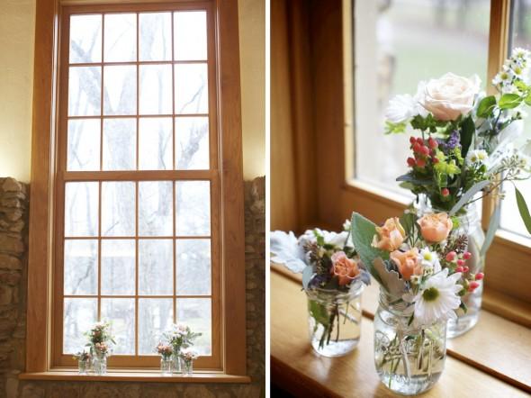 Wildflowers in Mason Jar for wedding