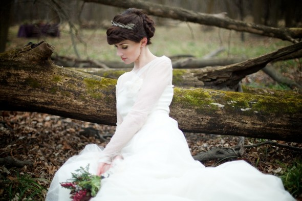 Bride among mossy trees