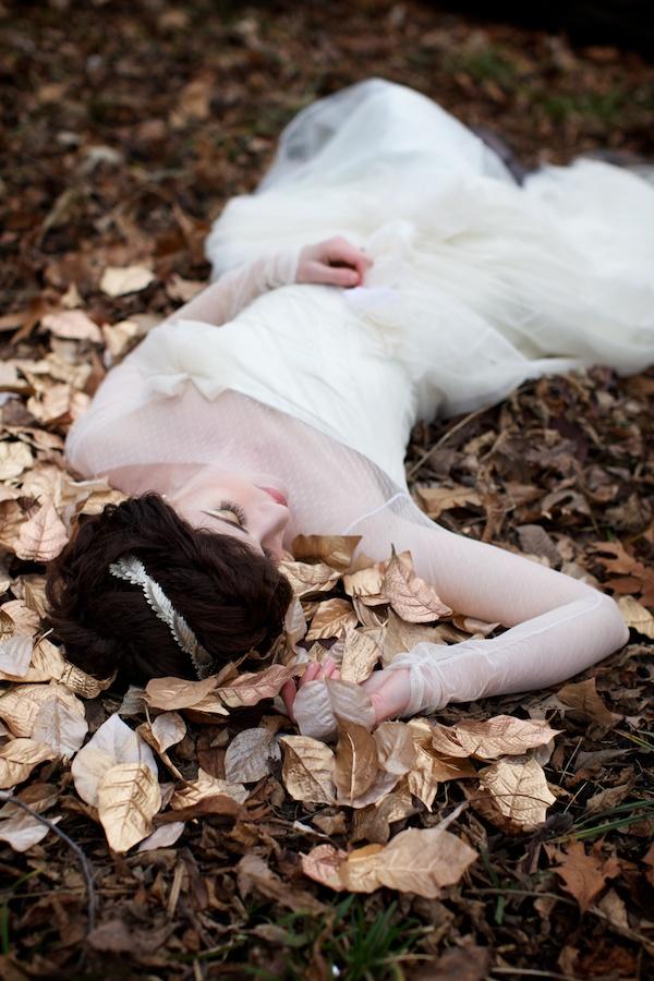 Bride on golden leaves