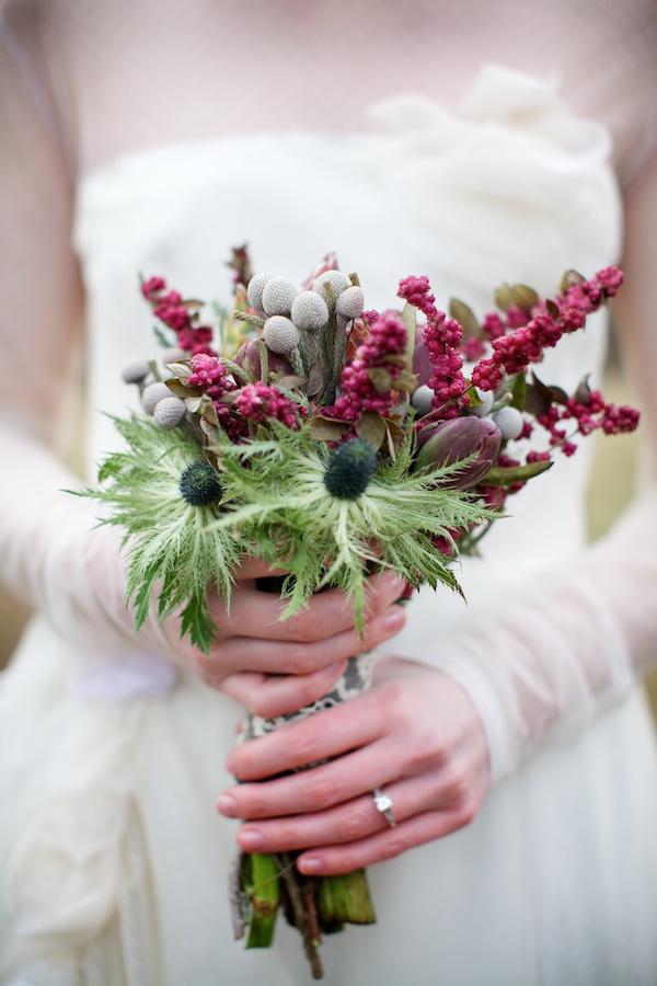 Thistle in wedding boquet