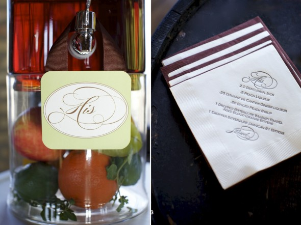 Drink Recipe on wedding napkin