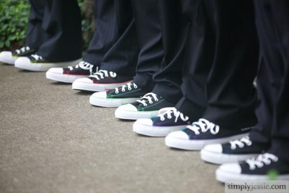 Converse shoes on groomsmen