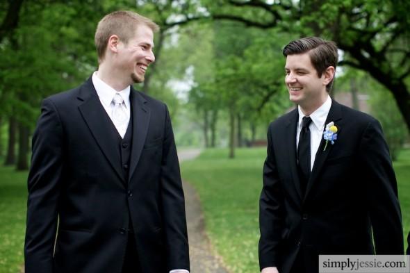 Best man & groom laughing