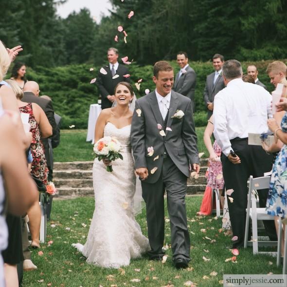 Rose petal exit wedding