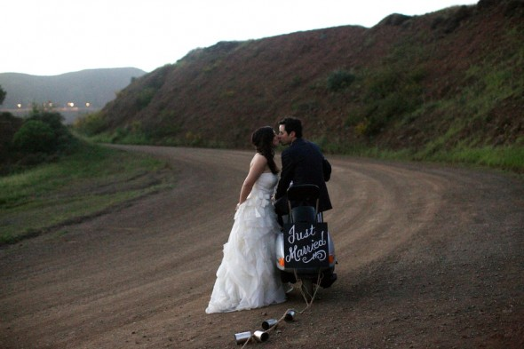 Bride and groom on vespa, bay area photography