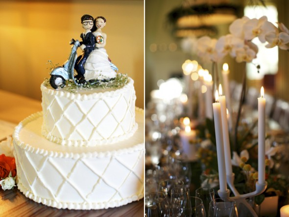 Cake toppper looks like bride & groom