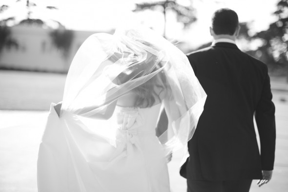 B&W windy bride and groom