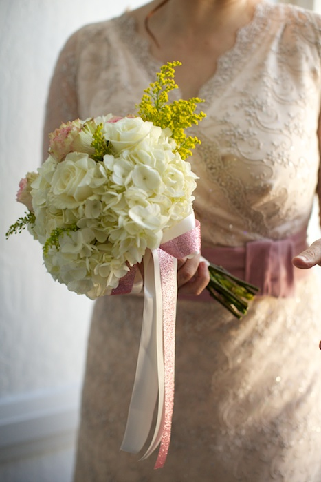 Lace wedding dress made by friend