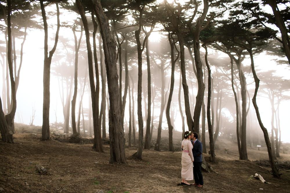 Wedding Photography in fog, San Francisco