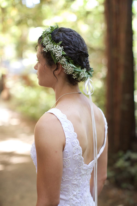 Sequoia Retreat Center Floral Crown  Wedding