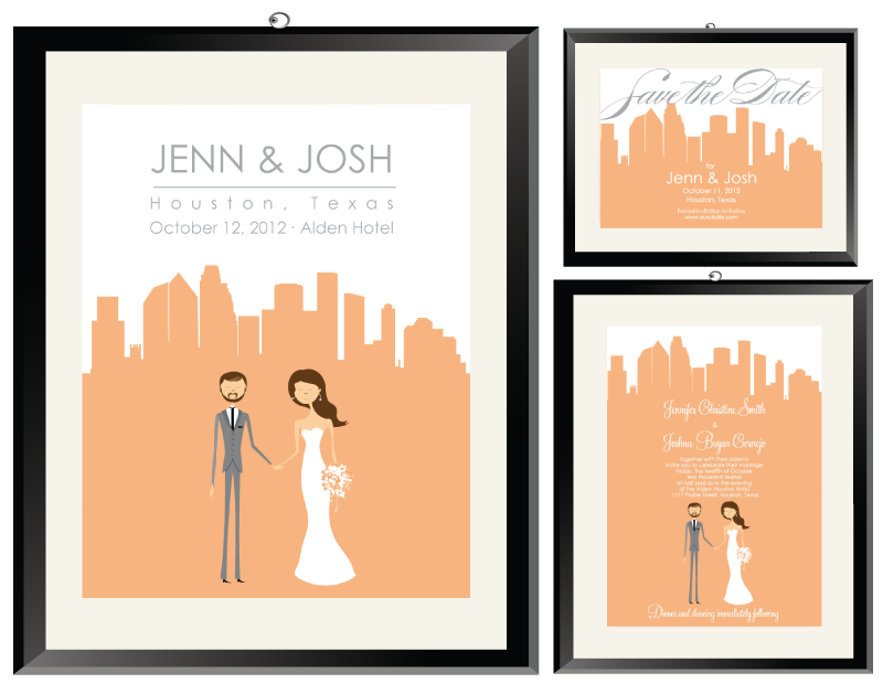Jenn & Josh Houston Cityscape Wedding Invitations