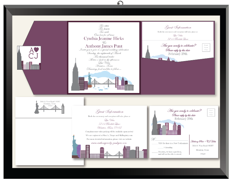 CJ & Anthony New York Houston Cityscape Wedding Invitations