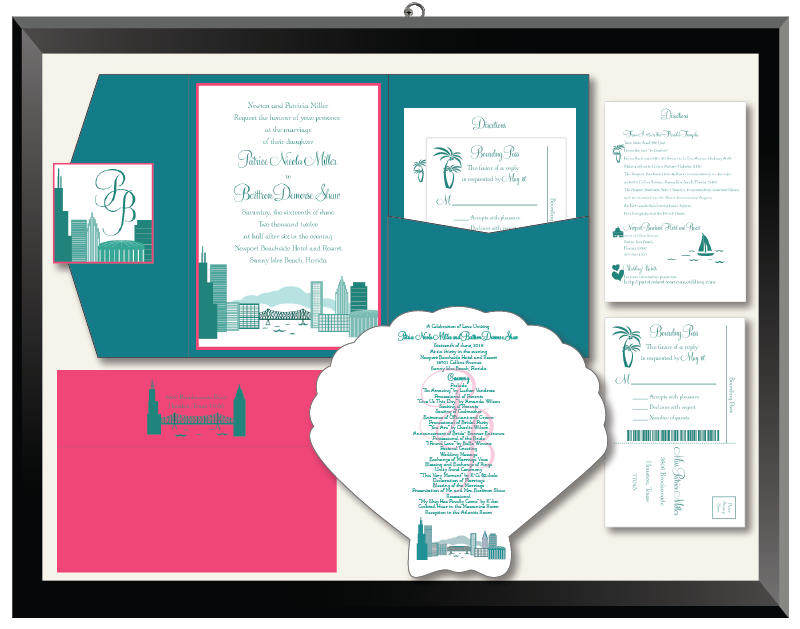 Patrice & Berttron Cityscape Wedding Invitation Suite
