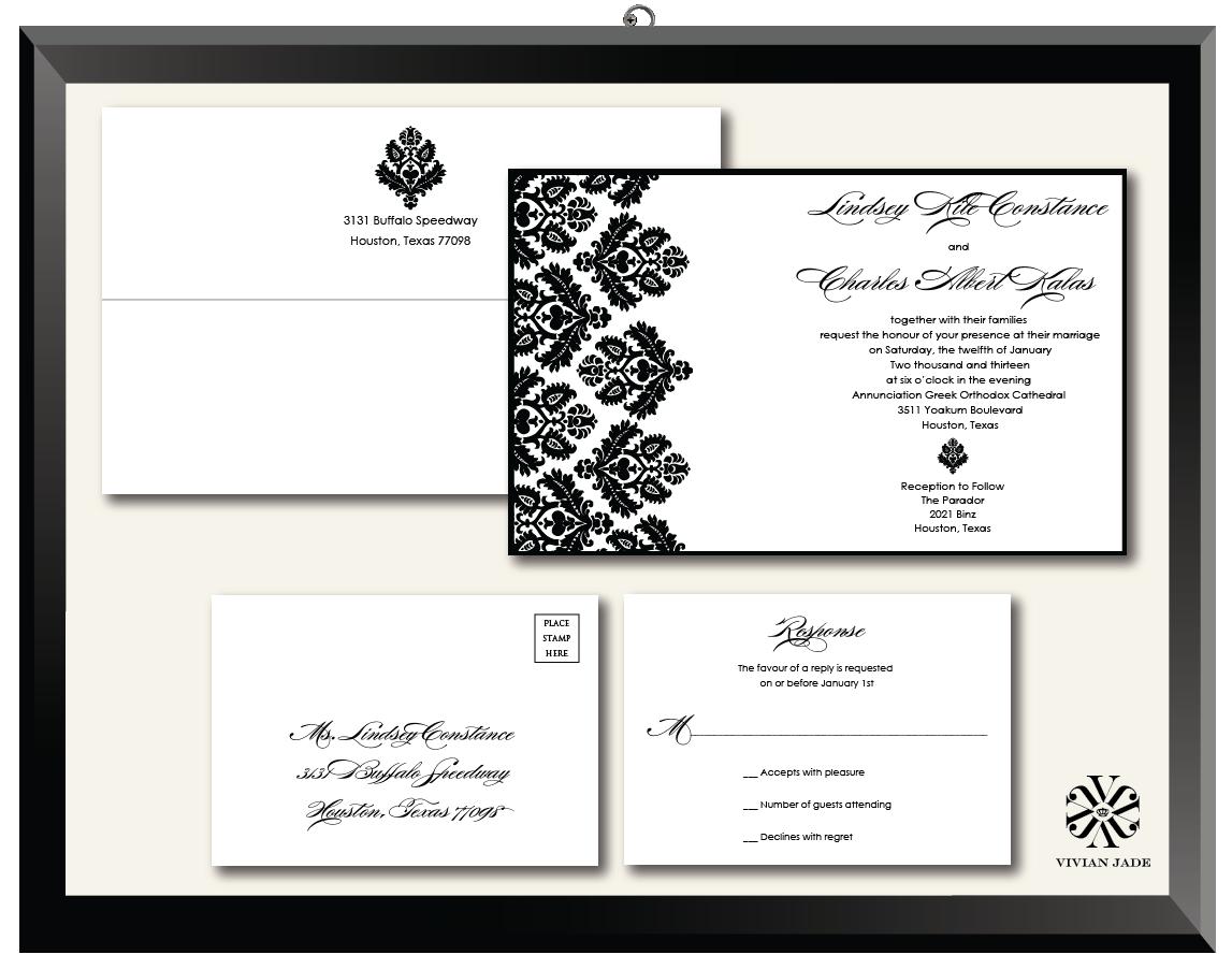 Lindsey Damask Wedding Invitations