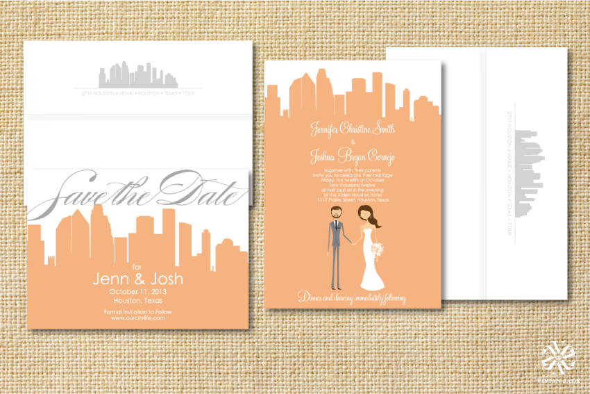 Jenn & Josh Houston Skyline | Cityscape Save the Dates