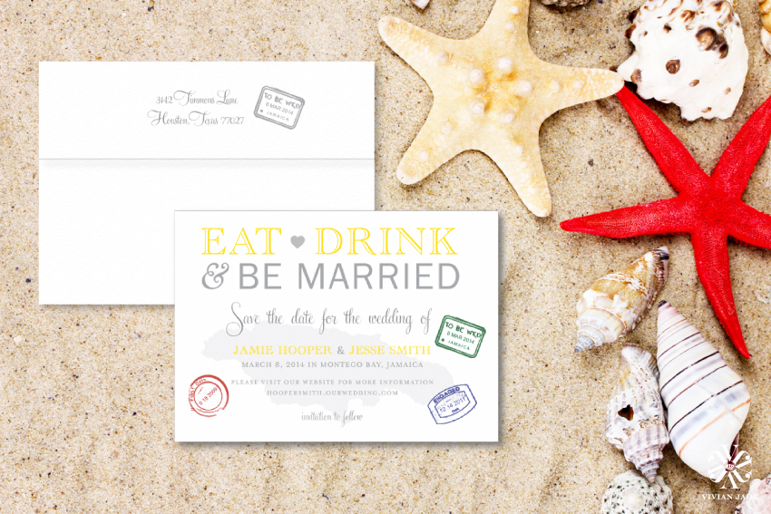 Jamie & Jesse Jamaica Destination Save the Date Cards