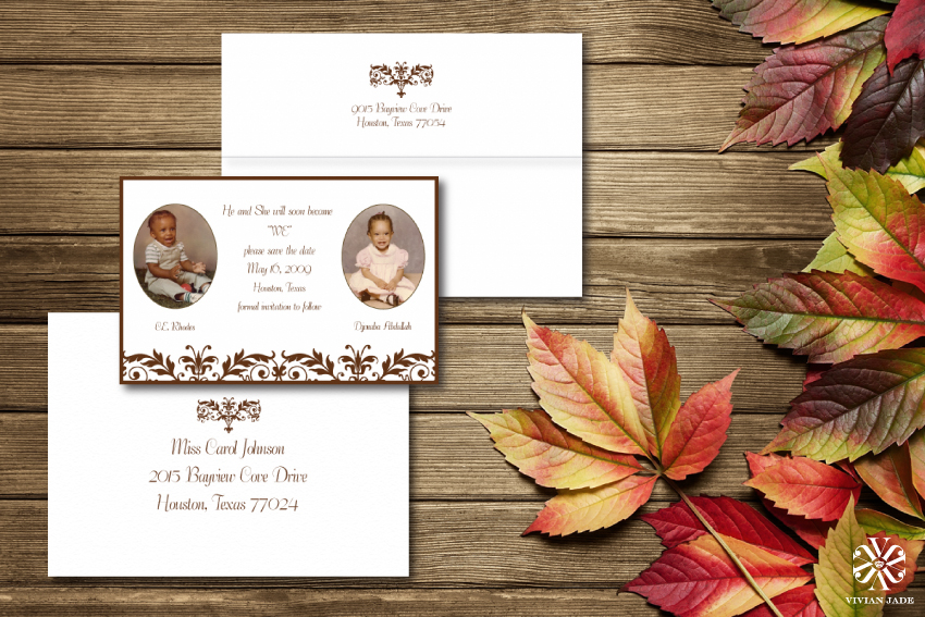 He and She | Baby Photos Save the Date Cards