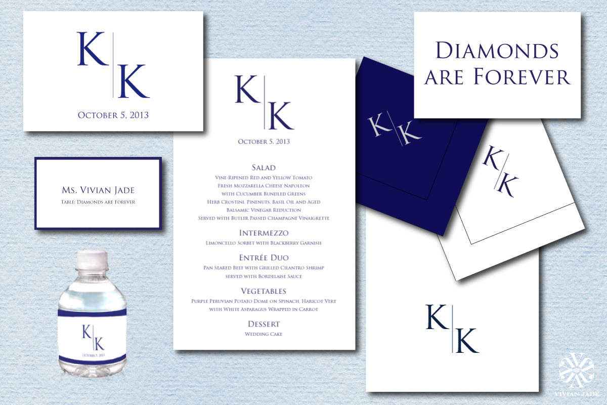 Kerry & Kristopher  Box Labels, Escort Cards, Water Bottle Wraps, Menu Cards, Napkins, Table Cards, Thank You Cards