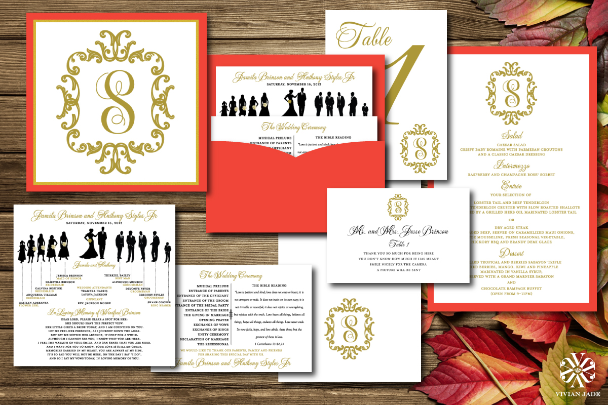Jamilla & Anthony  Programs, Wedding Party Information Cards, Thank You Cards, Table Numbers, Place Cards, Menu Cards