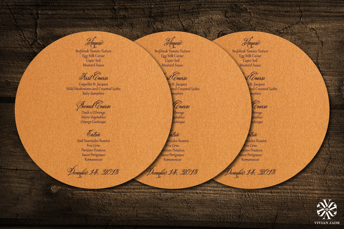 Affaire Extraordinaire  Menu Cards
