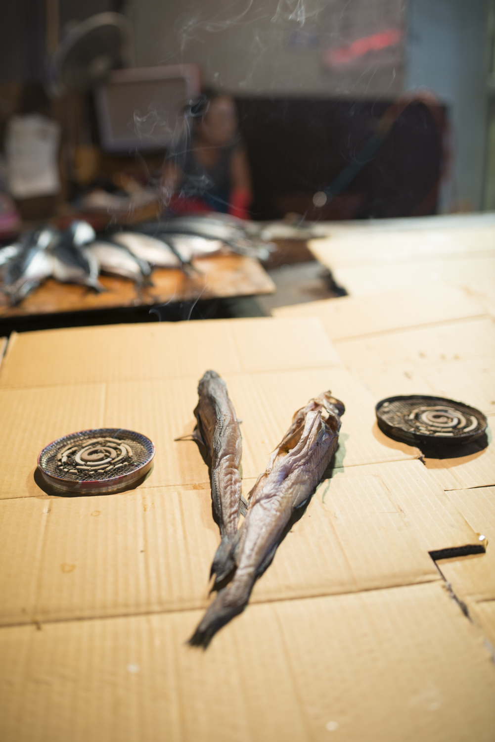 Drying fish and incense in Sokcho.
