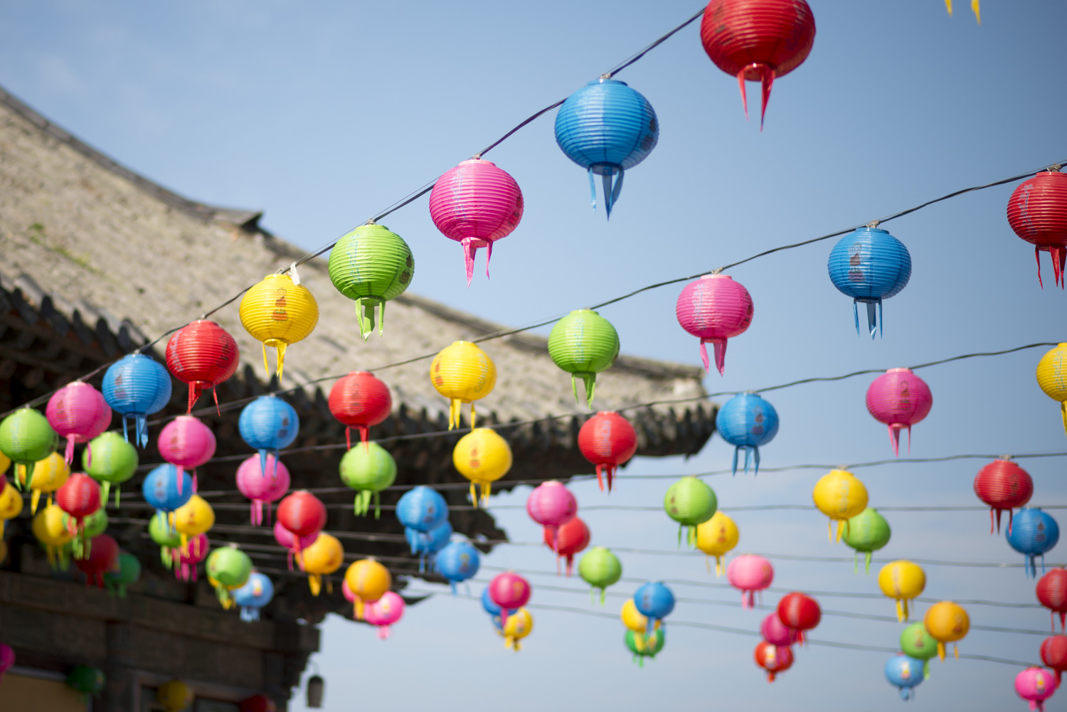 Lanterns hang at Bulguksa Temple in honor of Buddha's birthday which is celebrated every year at the end of May.