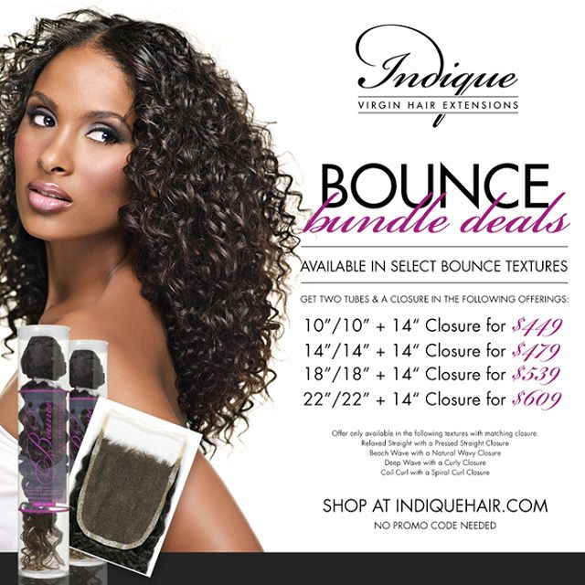 It's the LAST day to enjoy our BOUNCE bundle deal!  You don't want to miss out on this amazing deal!  Shop quick!  #Indique #IndiqueHair #IndiqueBoutique #IndiqueBundles  #BundleDeals #Bundles #BOUNCERelaxedStraightBundles  #BOUNCEBeachWave  #BOUNCEBeachWaveBundles  #BOUNCEDeepWave  #BOUNCEDeepWaveBundles  #BOUNCECoilCurl  #BOUNCECoilCurlBundles  #PressedStarightClosure  #WavyClosure  #CurlyClosure  #Closures  #OnlineBoutique #Weaves #VirginHair #HumanHair