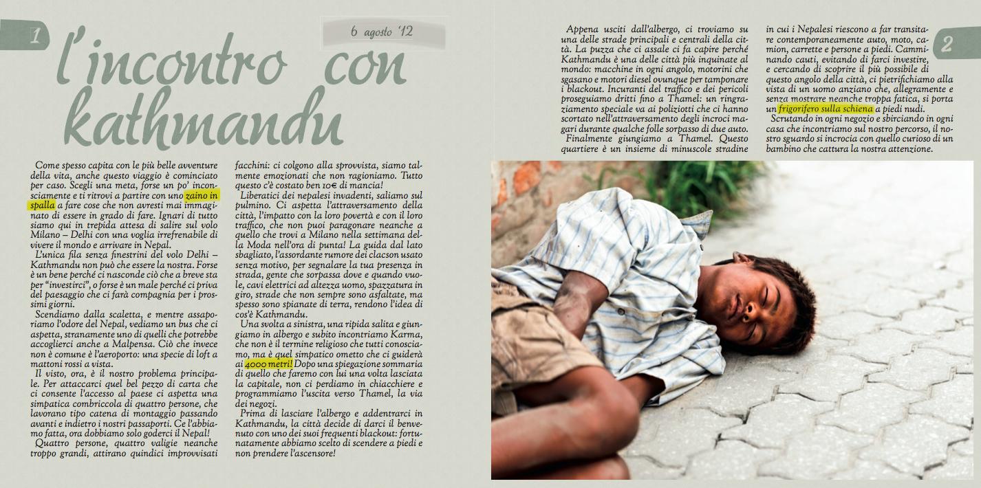"""Una delle prime pagine del diario """"Annapurna - Discovering Nepal"""""""