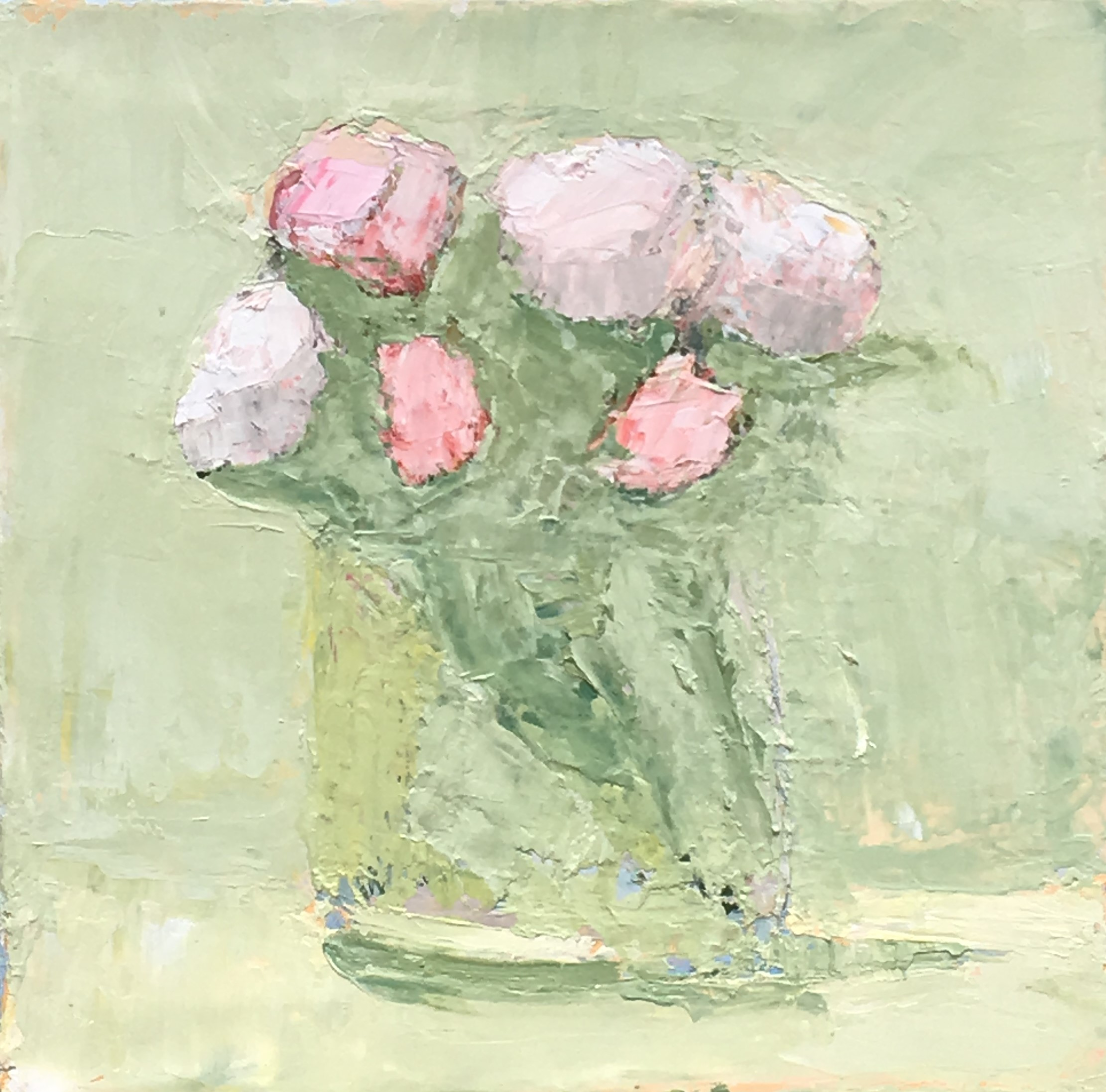 Roses on Green 10x10