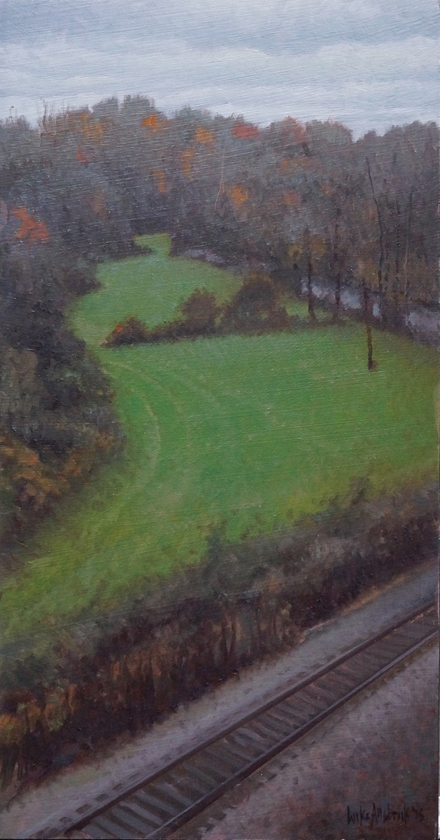 Luke Allsbrook, Dark Evening with Green Field, 15X8, Oil on Panel